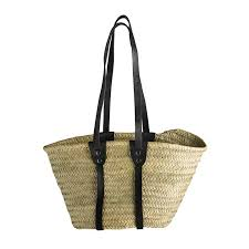 hand bag in straw with long leather handles black products tine k home