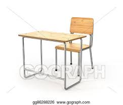 school desk and chair clipart.  Desk School Desk And Chair On White Background 3d Illustration Inside School Desk And Chair Clipart I