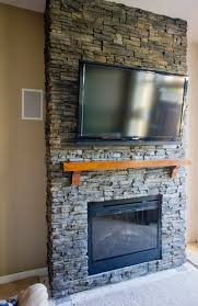 hirondelle rustique diy stacked stone fireplace first remodeling