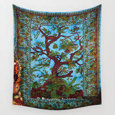 turquoise indian tree of life tapestry