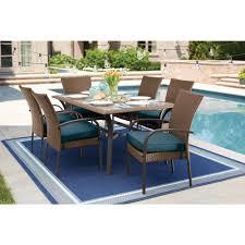 hampton bay corranade 7 piece wicker outdoor dining set with charleston cushions