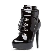 black lace up boots sti heel platform patent leather ankle boots image 1