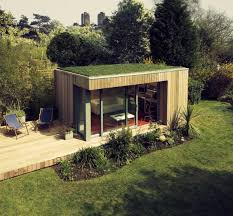 shed home office. Outdoor Home Office. Office Shed With Gras Roof And Patio - Structure Building