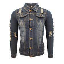 autumn and winter men and women in europe washed retro holes casual fashion lapel jacket denim