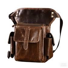 motorcycle bag messenger shoulder bag travel full grain cow leather riding retro vintage pack waist thigh drop leg bags bike seat bags hard bags