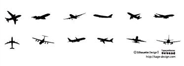 飛行機の影絵素材その1 シルエットデザイン