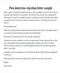 Rejection Letter Sample Resume Template Ideas