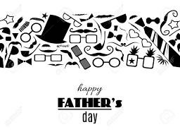 幸せな父の日白黒グリーティング カードの父の属性から水平方向の境界線のパターンを持つベクトル図