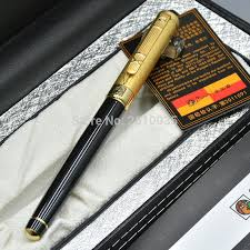 expensive brand pico 902 black and golden metal fountain pen with stationery writing office supplies luxury nib ink pen gifts