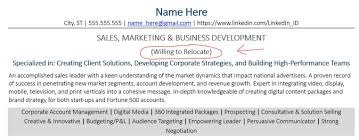 Mentioning Relocation On Your Resume And Cover Letter Examples For