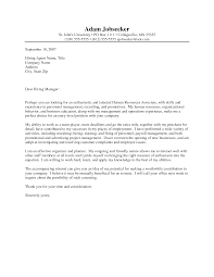 Sample Cover Letter For Entry Level Human Resource Position To