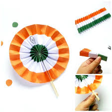 office decorative. Indian Flag Paper Fan Is A Great DIY Decorating Idea. You Can Make  Tri-colour For Desk Or To Stick On The Wall Of Entrance Office. Office Decorative
