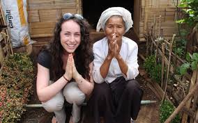 sydney kamen with a village leader in rural burma in an unofficial refugee c that is