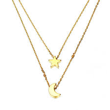 gold silver double layer star moon pendant necklace for women