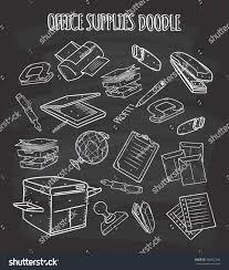 Office Chalkboard Office Supplies Doodle On Chalkboard Stock Illustration 386822104