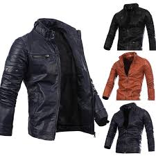 details about mens pu leather jacket slim fit biker motorcycle warm zip up coat outwear casual