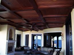 Specialty Ceiling - Coffered Ceiling with Dark Wood Finish