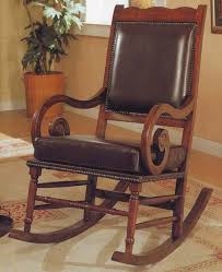 coaster 600188 wood rocker with brown bicast leather seat and back main image