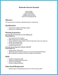 Good Qualifications For A Job Nice Impressive Bartender Resume Sample That Brings You To A