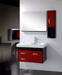 likeable wall mounted cabinets storage design using red and black accents finish paired with appealing square