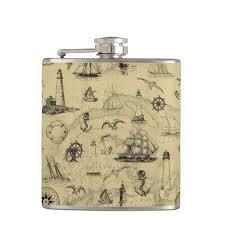 Vintage Nautical Pattern Old Map Background Hip Flask