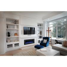 wall mount electric fireplace with mesh screen