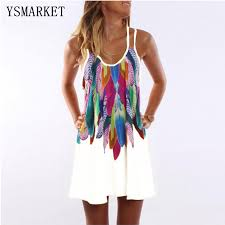 Aliexpress.com : Buy Women Mini <b>Dress</b> Feather Printed Beach ...