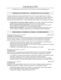 Sample Financial Controller Resume Controller Resume Cover