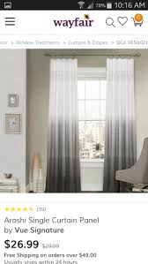 Vue Signature Arashi Ombre Embroidery Curtain Panel (Grey - Size 52 x 84