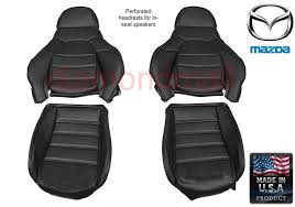mazda miata seat covers fits 1990 1996 pair of black leatherette standard seats