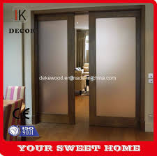 double leaf interior frosted glass bathroom sliding door