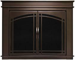 masonry fireplace door cabinet style tinted glass riser bar screen surface mount