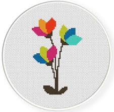 Modern Cross Stitch Patterns Interesting Modern Flowers Cross Stitch Pattern Daily Cross Stitch