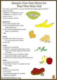 Baby Boy Diet Chart Sample Menu For A Two Year Old Healthychildren Org