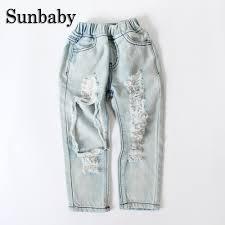 Light Blue Jeans For Girl Sunbaby New Fashion Summer Big Hole Broken Style Light Blue Jeans Girls Kids Skinny Elastic Waist Baby Girl Jeans