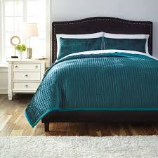 Overstock Bedroom Furniture Sets Signature Designs By Ashley Quilted Peacock 3 Piece Comforter Set