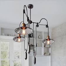 industrial chandelier ceiling light retractable pulley reflector pendant lamp