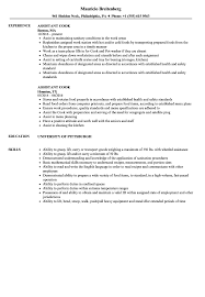 Assistant Cook Resume Samples Velvet Jobs