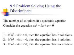 9 5 problem solving using the discriminant
