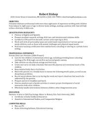 Best Educated Nanny Resume Example Featuring Experienced