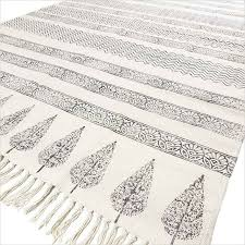 details about 3 x 5 ft off white black cotton block print area accent dhurrie rug flat weave