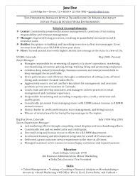 Store Manager Sample Resume Medium Small Store Manager Resume Format