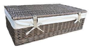 Nice Luxury, Wicker Underbed Storage. Wardrobe Storage. Under Bed. Bedding.  Cotton Lined. Antique Wash Finish. Full Cane. Cream Leather Straps:  Amazon.co.uk: ...