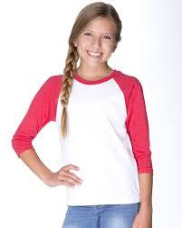 Next Level Apparel Next Level T Shirts Youth Cvc Three Quarter Sleeve Raglan T Shirt Walmart Com