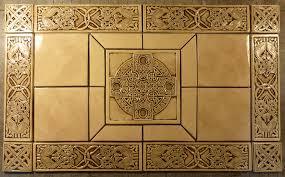 Decorative Relief Tiles Decorative handmade ceramic tile Handmade relief carved Celtic 81