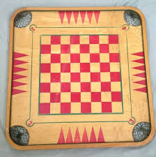 Wooden Sequence Board Game Vintage Wooden Board Game Carrom Crokinole Checkers Chess 100 85