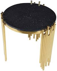 gold s legs with black marble top side table
