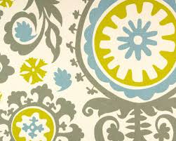 Small Picture Gray Suzani Fabric TurquoiseBlueMustard Yellow Fabric Home