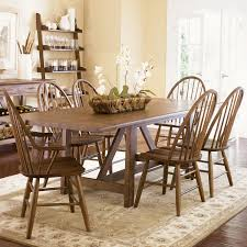 seven piece dining set: seven piece trestle table and windsor back chair set