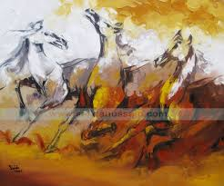 original horses oil painting on canvas by sajida hussain by stani artist karachi stan dubai